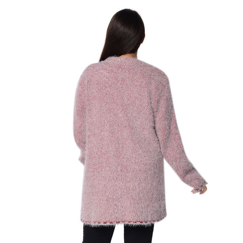 Soft and Smooth Winter Fret Pattern Sweater Coat with 2 Pockets (Size 53x79 Cm) - Red and White
