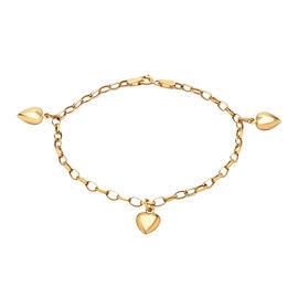 9K Yellow Gold Oval Belcher Bracelet (Size 7) with Heart Charm.