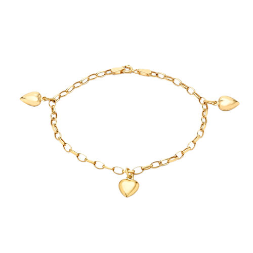 Oval Belcher Heart Charm Bracelet in 9K Yellow Gold 7 Inch