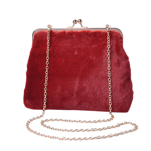 Burgundy Faux Fur Clutch Closure Crossbody Bag (Size: 23x10x18cm) with Chain Shoulder Strap (L: 120c