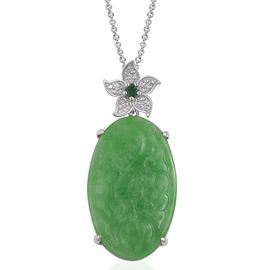 Carved Green Jade, Zambian Emerald and Natural White Cambodian Zircon Flower Pendant with Chain in Rhodium Plated Sterling Silver 29.285 Ct.