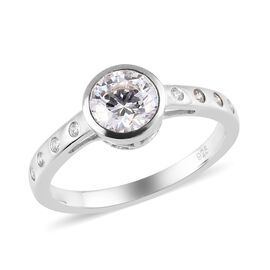 J Francis Platinum Overlay Sterling Silver Ring Made with SWAROVSKI ZIRCONIA 1.65 Ct.
