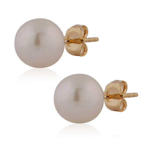 ILIANA 18K Yellow Gold White South Sea Pearl Ball Stud Earrings (with Push Back)