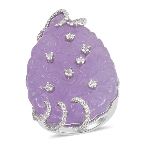 Purple Jade and Natural White Cambodian Zircon Ring in Rhodium Plated Sterling Silver 41.830 Ct. Num