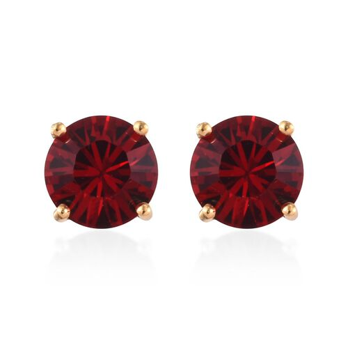 J Francis - Crystal from Swarovski Ruby Crystal Stud Earrings (with Push Back) in 14K Gold Overlay S