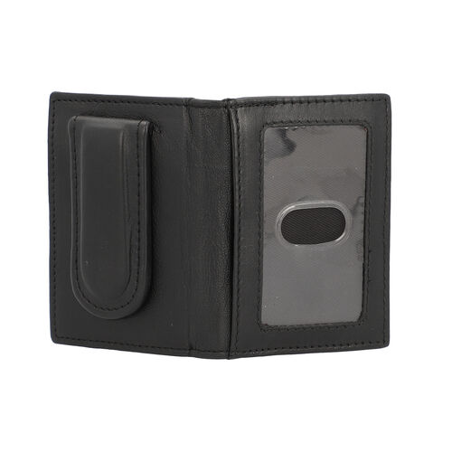 100% Genuine Leather Bi-Fold Men Wallet (Size 7.5x10cm) - Black