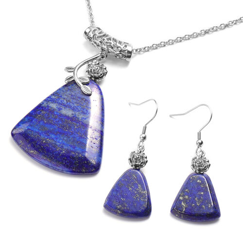 2 Piece Set - Lapis Lazuli Hook Earrings and Pendant with Chain (Size 20 with 2 inch Extender) in Si