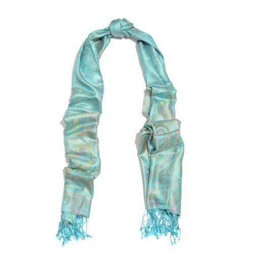SILKMARK - 100% Superfine Silk Turquoise, Pink and Multi Colour Paisley and Floral Pattern Jacquard Jamwar Reversible Scarf with Tassels (Size 180X70 Cm) (Weight 125 to 140 Gm)
