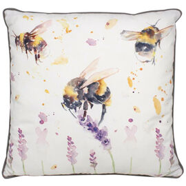 Lesser &  Pavey Country Life Bees Cushion (Size 43x43x10cm) - White