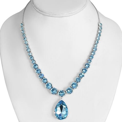 J Francis Crystal from Swarovski Aquamarine Crystal Necklace (Size 18) in Silver Tone