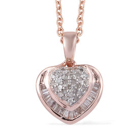 Diamond (Rnd and Bgt) Heart Pendant With Chain (Size 20) in Rose Gold Overlay Sterling Silver 0.330