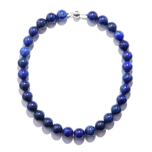 Lapis Lazuli Beads Necklace (Size 18) in Rhodium Overlay Sterling Silver 640.000 Ct