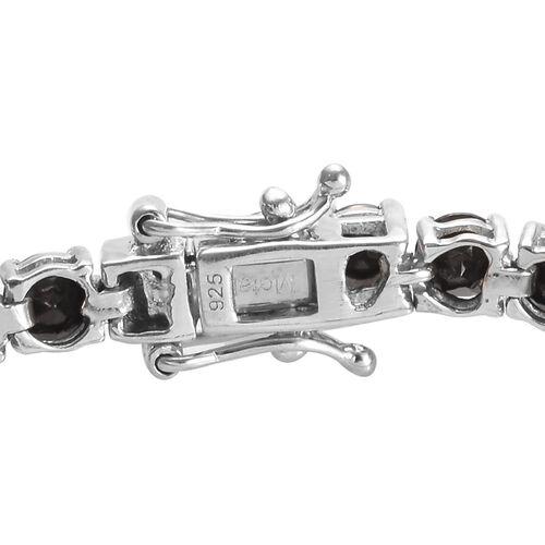 Elite Shungite (Rnd) Bracelet (Size 7.5) in Platinum Overlay Sterling Silver 7.25 Ct, Silver wt 9.19 Gms