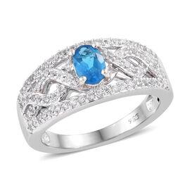 Malgache Neon Apatite (Ovl), Natural Cambodian Zircon Ring (Size N) in Platinum Overlay Sterling Silver 1.150