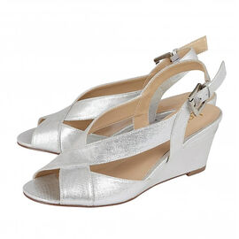 Lotus Dominica Sling-Back Wedge Sandals in Silver Colour