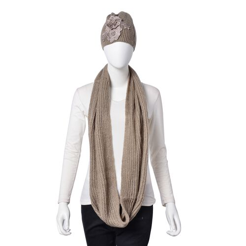 Khaki Colour Knitted Infinity Scarf and Flower Adorned Hat