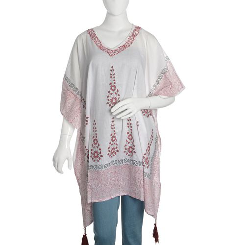 New Season-100% Cotton Red, Black and White Colour Hand Block Floral Printed Kaftan with Tassels (Fr