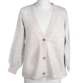 Kris Ana V Neck Wool Cardigan One Size (8-16) - Grey