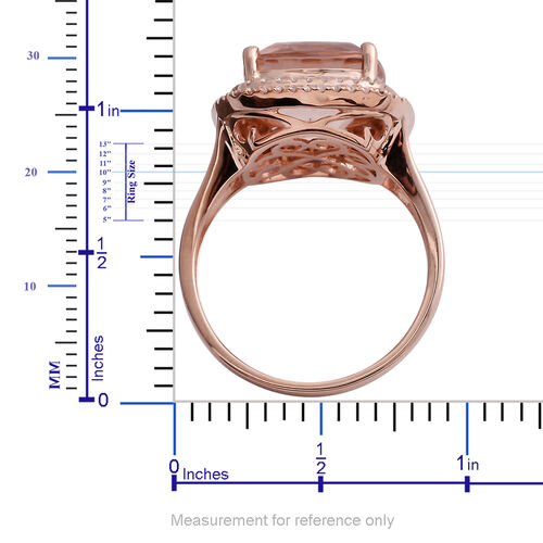ILIANA 18K Rose Gold AAA Maroppino Morganite (Cush 12mm, 6.50 Ct) and Diamond (SI/G-H) Ring 6.920 Ct.