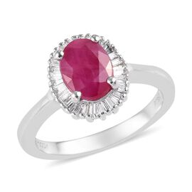 RHAPSODY 1.75 Ct AAAA Burmese Ruby and Diamond Halo Ring in 950 Platinum VS EF