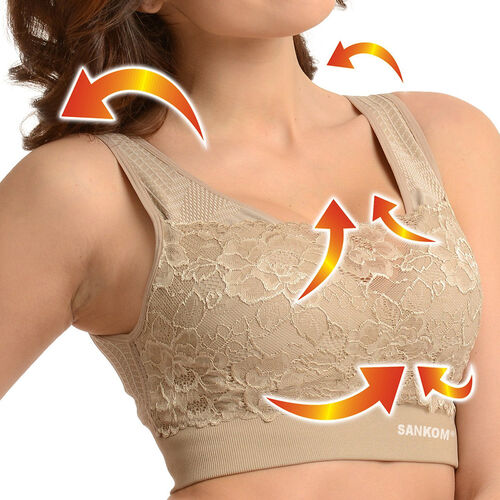 2 Piece Set - SANKOM SWITZERLAND Patent Classic with Lace Bra  (Size M/L) Including Beige and White