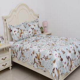 3 Piece Set  - Floral Pattern Quilt (Size 240x260 Cm) and 2 Pillow Case (Size 2x50x70+5 Cm)