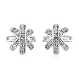0.25 Ct Diamond Cluster Stud Earrings in Platinum Plated Sterling Silver