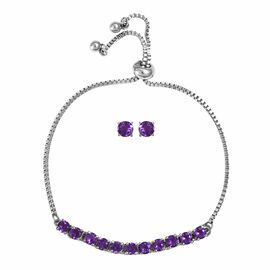 2 Piece Set - Zambian Amethyst (Rnd) Bolo Bracelet (Size 6.5 - 9.5 Adjustable) and Stud Earrings (wi