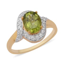 Hebei Peridot (Ovl), Natural Cambodian White Zircon Ring in Yellow Gold Overlay Sterling Silver 2.65