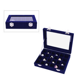 24 Sections Jewellery Box Organiser with Velvet Lining and Transparent Window (Size 20x15x4.5cm) - N