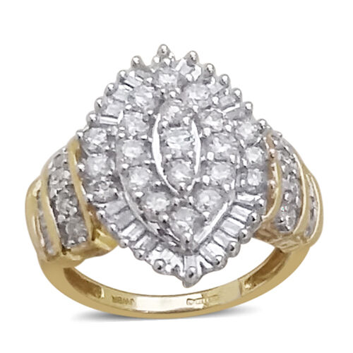 New York CloseOut Deal-9K Yellow and White Gold Diamond (Rnd) (I3/G-H) Ring 1.640 Ct.Gold Wt 4.75 Gms.