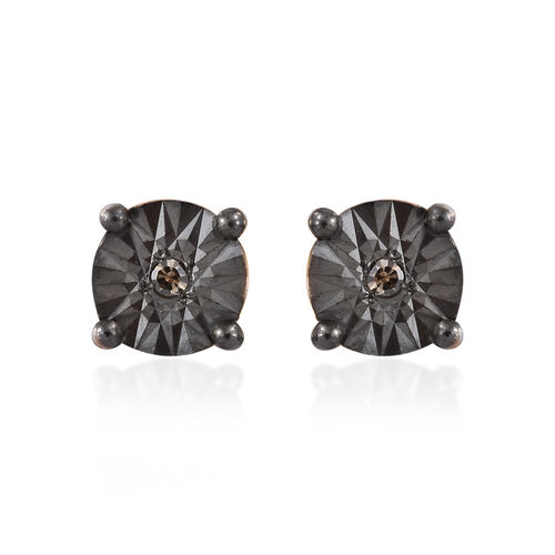 Natural Champagne Diamond (Rnd) Stud Earrings (with Push Back) in 14K Gold and Black Overlay Sterling Silver