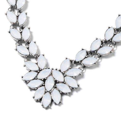 Simulated White Moonstone (Mrq) BIB Necklace (Size 22 with 1.50 inch Extender) in Yellow Bond