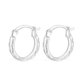 9K White Gold Hoop Earrings (with Clasp), Gold wt 1.10 Gms