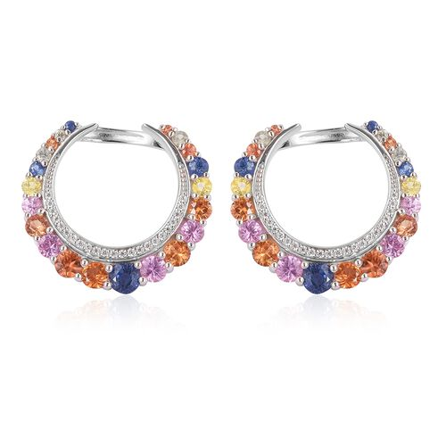 Designer Inspired- Rainbow Sapphire Earrings (with Clasp) in Rhodium Plated Sterling Silver 4.850 Ct. Silver wt 6.80 Gms.