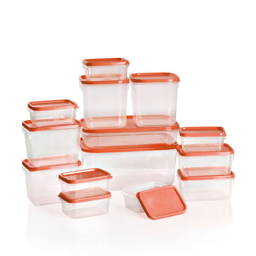 Set of 14 Food Storage Containers Freezer and Dishwasher Safe- Red (1800ml, 750ml, 600ml -2, 400ml -2, 250ml - 2, 125ml - 6) - Red