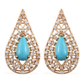 AA Arizona Sleeping Beauty Turquoise (Pear 14x7 mm), Natural Cambodian Zircon Teardrop Earrings (wit