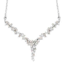 Diamond (Tapered Baguette) Firecracker Necklace (Size 18) in Platinum Overlay Sterling Silver  0.500  Ct.