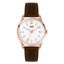 HENRY LONDON Richmond Unisex White Dial Watch with Dark Brown Leather Strap