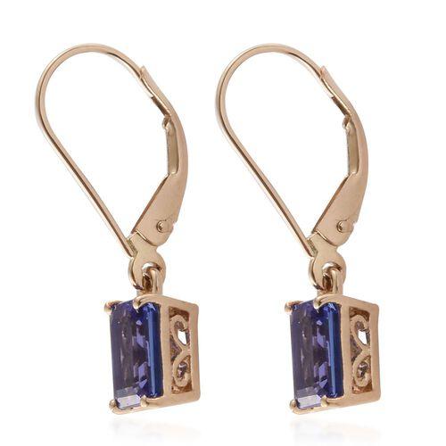 ILIANA 18K Yellow Gold AAA Tanzanite (Oct) Lever Back Earrings 2.000 Ct.