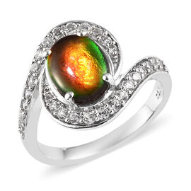 2 Ct Canadian Ammolite and Zircon Swirl Halo Ring in Platinum Plated Silver