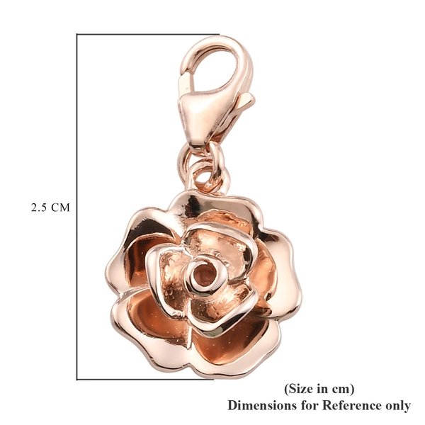 Rose Gold Overlay Sterling Silver Floral Charm