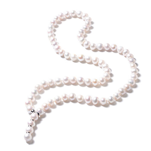 Freshwater Pearl (Rnd) Lariat Necklace (Size 29 Adjustable) in Rhodium Overlay Sterling Silver