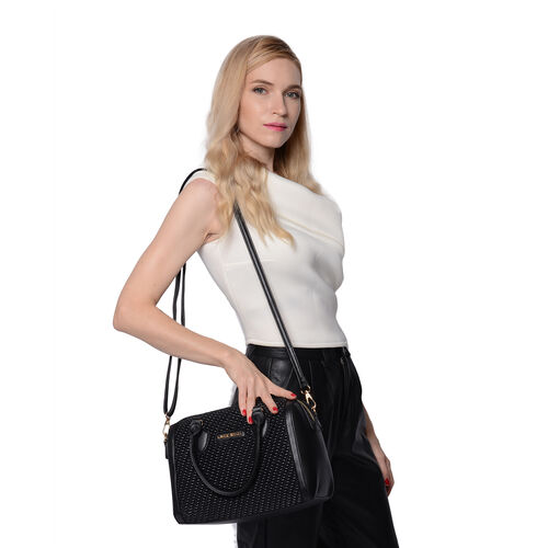 LOCK SOUL Black Colour Corn Grain Textured Satchel Bag with Detachable Shoulder Strap (Size 28x15x21 Cm)