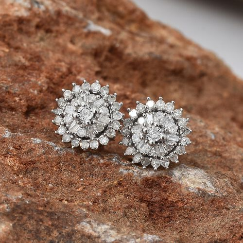 Diamond (Bgt & Rnd) Flower Earrings (with Push Back) in Platinum Overlay Sterling Silver 0.331 Ct.