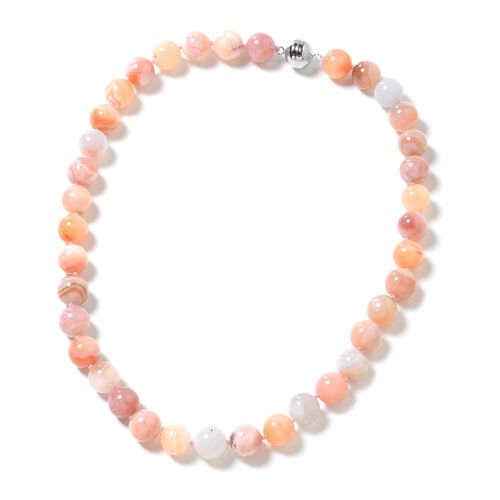One Time Deal- Extremely Rare Botswana Agate (Rnd 11-13 mm) Beads Necklace (Size 20) in Rhodium Overlay Sterling Silver 442.000 Ct.