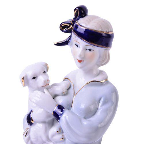 (Option 2) Art Deco Hand Painted Ceramic Figurine Lady Holding a Dog (Size 30x10x9 Cm)