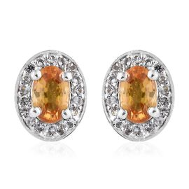 WEBEX- Yellow Sapphire (Ovl), White Topaz Halo Earrings (with Push Back) in Platinum Overlay Sterling Silver 1.500 Ct