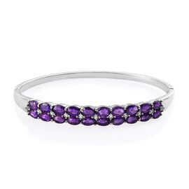 8.75 Ct Amethyst and White Topaz Stacker Bangle in Stainless Steel 7.5 Inch