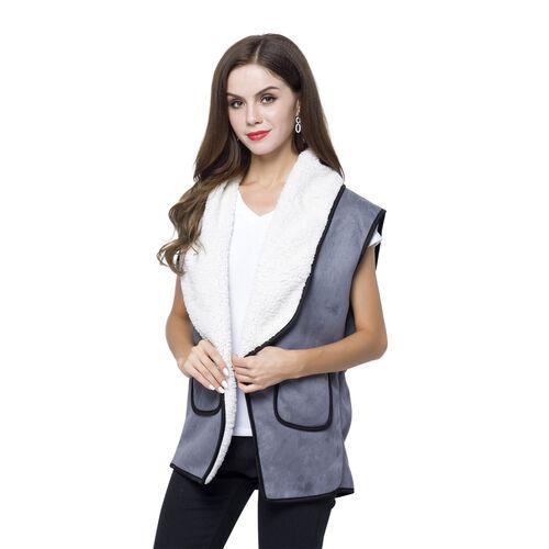 New Season - Grey Colour Drape Collar Sherpa Style Gilet (Size 80X50 Cm) with Pockets (Size 14X12 Cm)